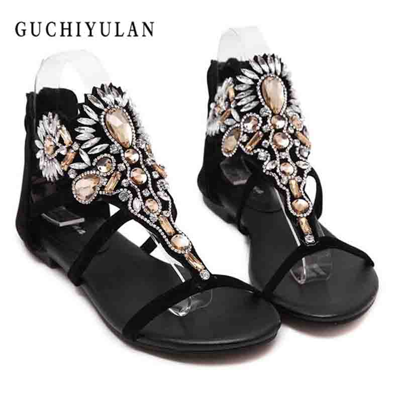 2018 Woman Sandals Women Shoes Rhinestones Chains Thong Gladiator Flat Sandals Crystal flip flops women Chaussure tenis feminino glglgege 2018 woman sandals women shoes rhinestones summer flat sandals with flowers ladies flat shoes chaussure tenis feminino