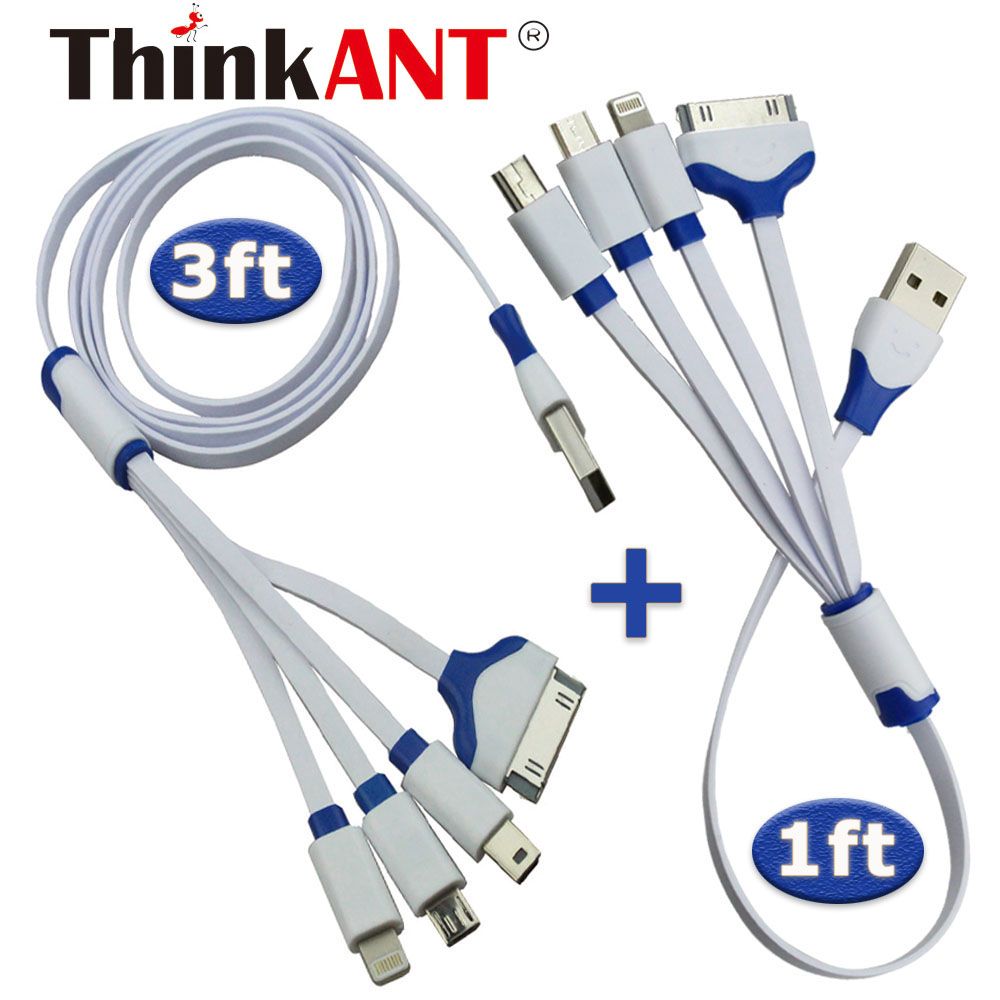 ThinkANT Multiple Connector 4 in 1 USB Charging Cable For Iphone 7 6S 6 5S 4S