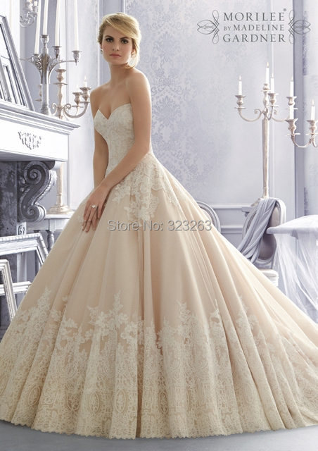 Country Style Wedding Dresses Princess Ball Gown with Lace ...
