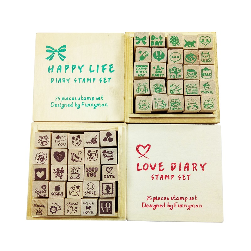 25 Pcs/set Lovely Clear Wood Stamps Diary Pattern Stamp Rubber Wooden Box Cute DIY Writing Stamp Gift