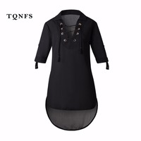 TQNFS 2017 New Arrivals Fashion Casual Shirt Dresses Women Summer Dress Deep V Neck Bandage Ladies