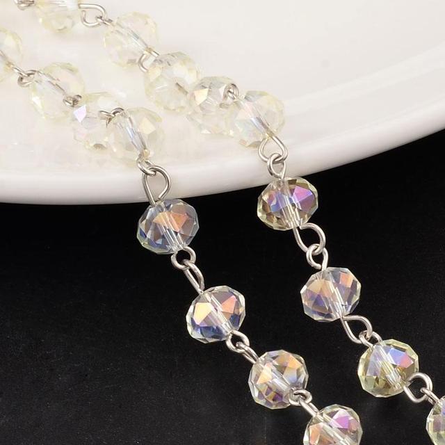 8x5mm galvanoplastie facettes verre Rondelle perles platine chaînes résultats de bijoux pour collier Bracelets faisant 1 m/brin (39.3