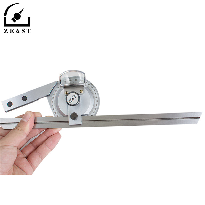 0-360 Rotaty Acero inoxidable Universal Bevel Protractor ángulo buscador Dial Angular regla goniómetro con hoja de 300mm