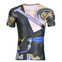 New Summer Fitness Compression T Shirt Men Anime Game OW Hanzo 3D T Shirt Bodybuilding Crossfit