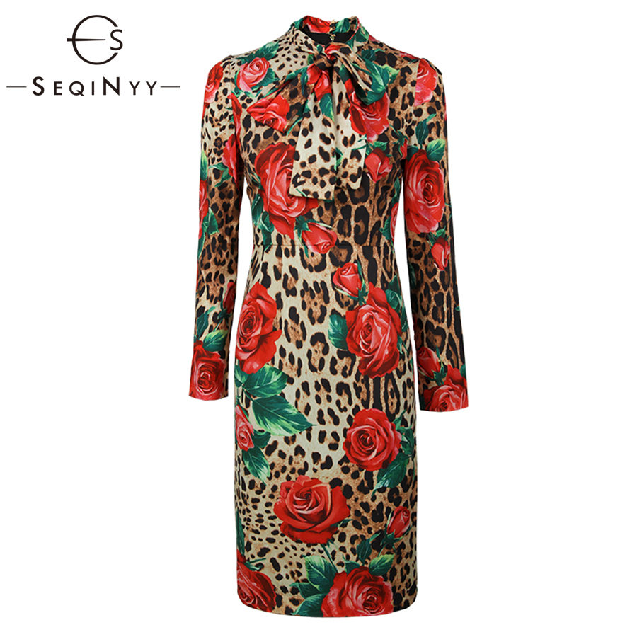 SEQINYY Summer Dress Sexy Leopard Flowers Printed 2019 Early Spring New Fashion Bow High Quality long