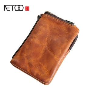 Image 3 - Короткий кошелек AETOO в стиле ретро, кожаный мужской бумажник с верхним слоем, Молодежный винтажный вертикальный клатч на молнии