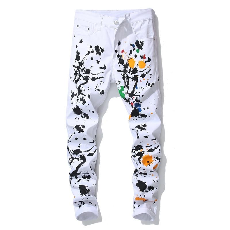 Fashion slim fit digital paint printed jeans Men brand Floral pattern print skinny stretch denim pants
