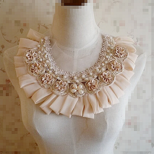 Pearl Beaded Chiffon Appliques Satin Flowers Appliques With Rhinestone For DIY Dress Shirt Collar 1 pcs