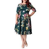 Women Summer Dress O neck Mid length Sleeve Priting A line Plus Size Dress Elegant Party Dresses 2XL 7XL Floral Frocks Sundress