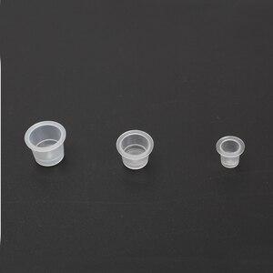 Image 4 - Профессиональный Перманентный макияж, пластиковые одноразовые инструменты для микроблейдинга, кольцо, держатель чашки для пигмента бровей