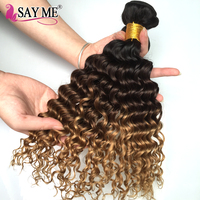 SAY ME Deep Wave Brazilian Hair Ombre Human Hair Weave Bundles Extensions 1b 4 27 Blonde