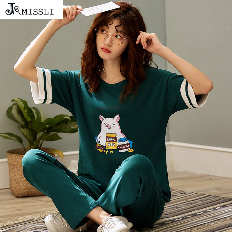 JRMISSLI Women   Pajama     Sets   Summer Cotton Cartoon Pijamas Short Sleeve Elegant Loose Soft M-2XL Two Pieces   Sets   Ladies Sleepwear