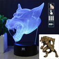 HY Angry Werewolf 3D Remote LED Night Light Touch Table Desk Lamp 7 Color Change USB LED Charger Gift Multifunction Card