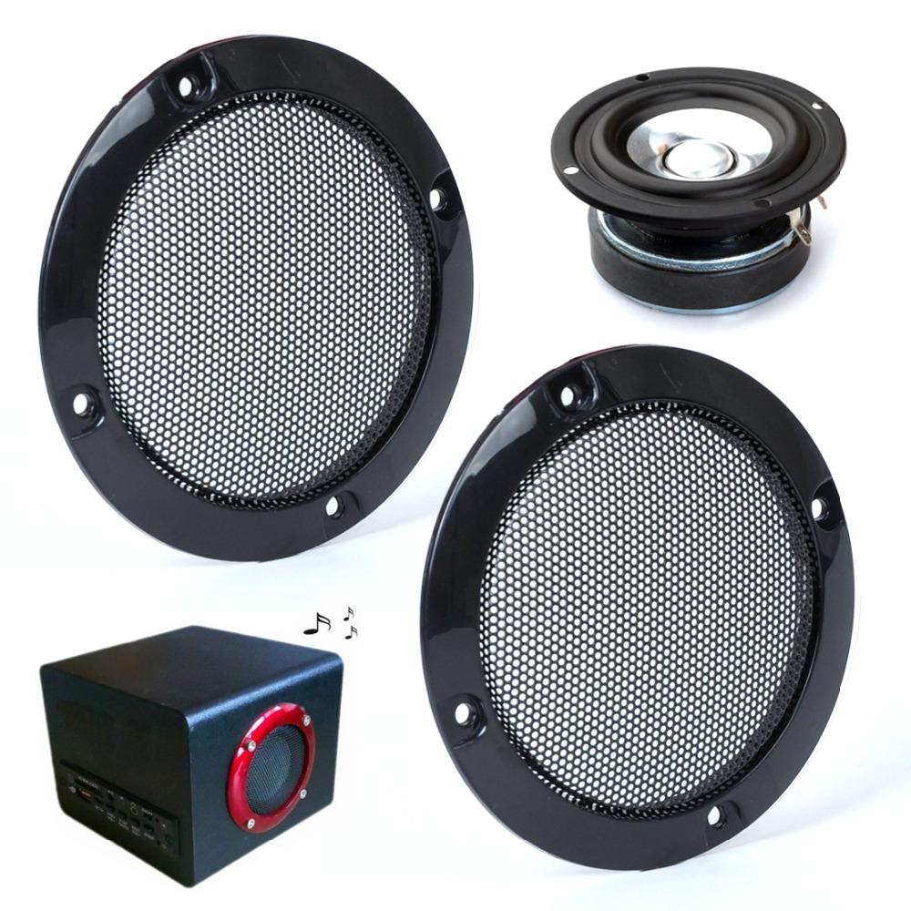 "2pcs 3"" Inch Black Circle Speaker Decorative Circle w/Black Protective Grille Mesh"