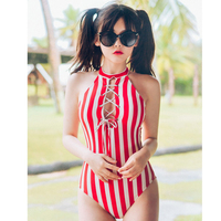 One Piece Swimwear Female Swimsuit Solid Bathing Suit Women Women's Clothes's Bath 2018 Japanese Contracted New Sexy Striped