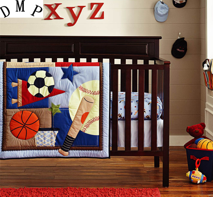 Promotion! 6pcs Embroidery baby bedding sets bed linen for boys ropa de cuna ,include (4bumpers+duvet+bed cover)