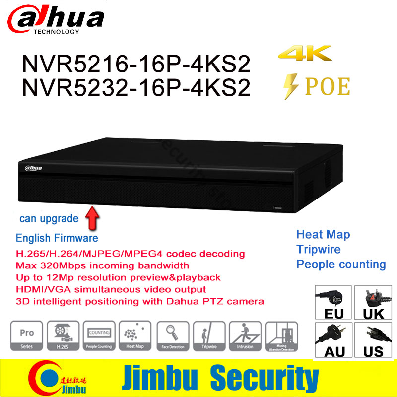 Dahua NVR 16CH 32CH 16 PoE 4K H.265 video recorder NVR5216-16P-4KS2 NVR5232-16P-4KS2 3D intelligent positioning IP camera12MP 16ch poe nvr 16 32ch ip camera 4k technology support 12mp ipc p2p network video recorder ds 7716ni i4 16p ds 7732ni i4 16p