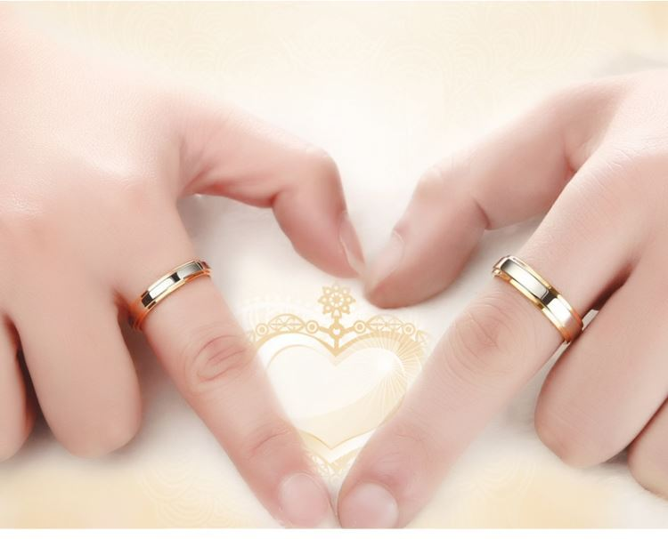 Stainless steel Wedding Ring Silver Gold Color Simple Design Couple Alliance Ring 4mm 6mm Width Band Ring for Women and Men 4