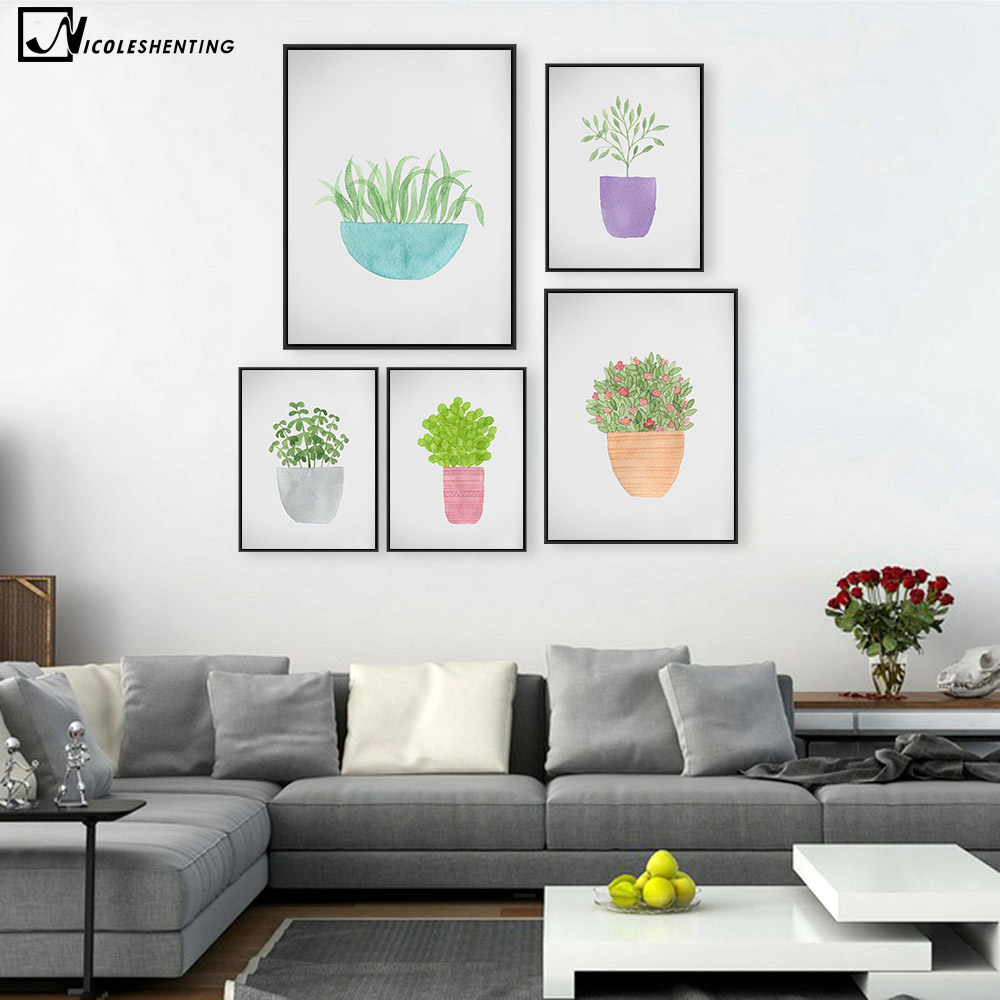 Watercolor plant leaves flower minimalist art canvas poster painting nature wall picture print home children room decoration in painting calligraphy from