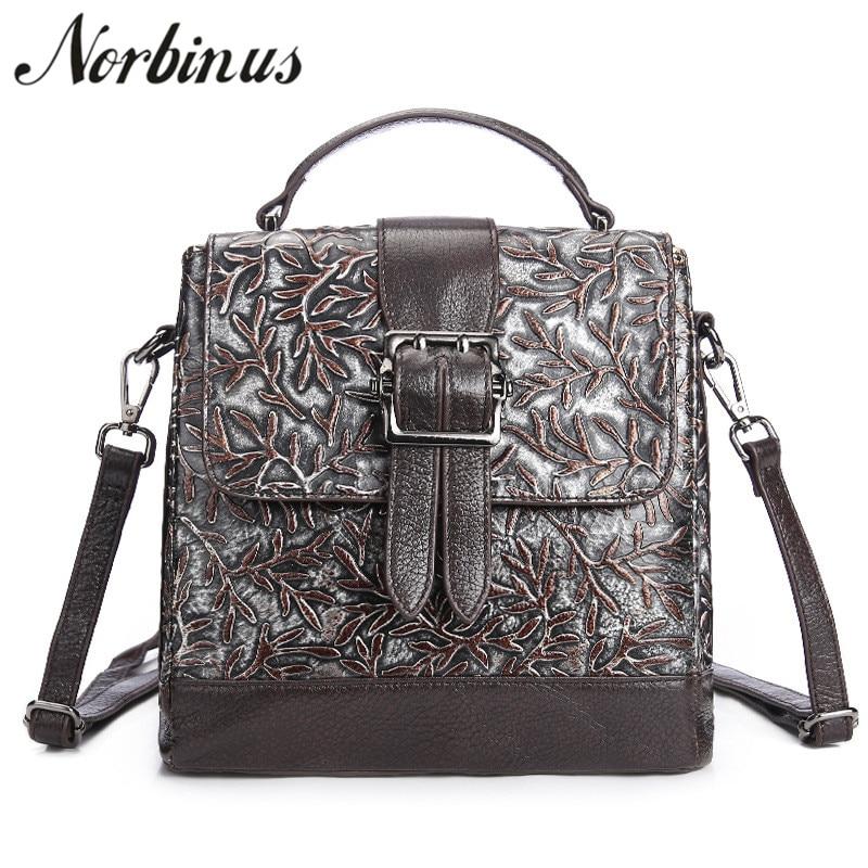 Norbinus 2018 Brand Designers Messenger Bag Fashion Women Shoulder Bags Genuine Leather Handbags Female Floral Tote