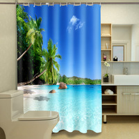 Polyester Waterproof Washable Bath Curtain Seaview Palm Printed Mildew Proof Bathroom Shower Curtain 12PCS C Type