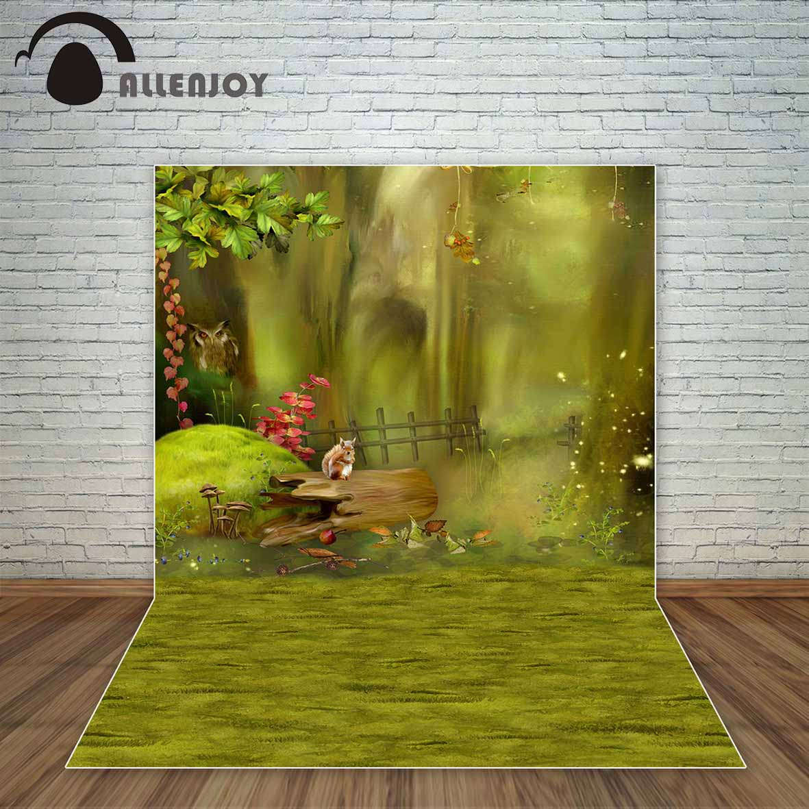 Allenjoy Spring green background grass animals tree fairy tale kids backdrop decoration decor for photo photophone vinyl photography background fairy tale