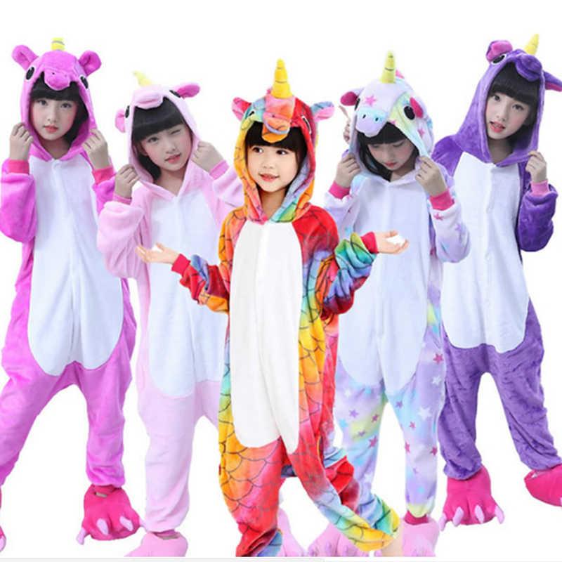 72e9e7acff Flannel Kigurumi Children Pajamas Set Winter Hooded Animal Unicorn Pikachu  Stitch Kids Pajamas For Boys Girls