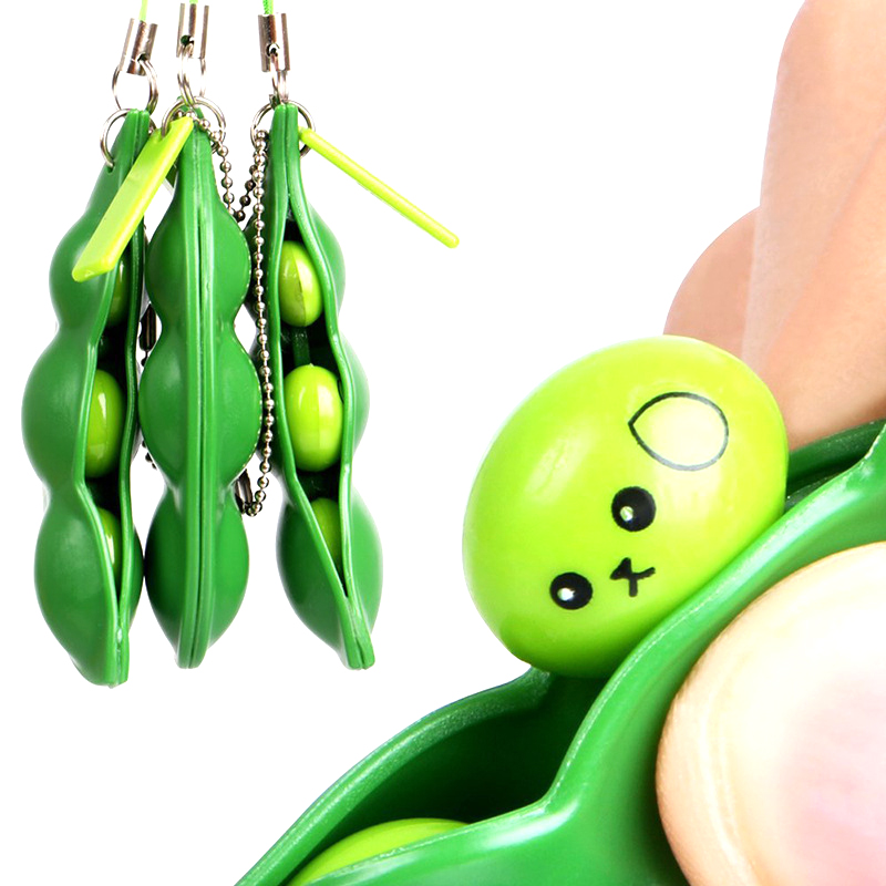 1pcs Fun Beans Squishy Toys Pendants Anti Stress Ball Squeeze Funny Gadgets Newest Simply squeeze those peas right out