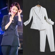 цена Womens Business Suits Female Office Uniform Ladies Trouser Suits Formal Womens Tuxedo 2 Piece Set Blazer в интернет-магазинах