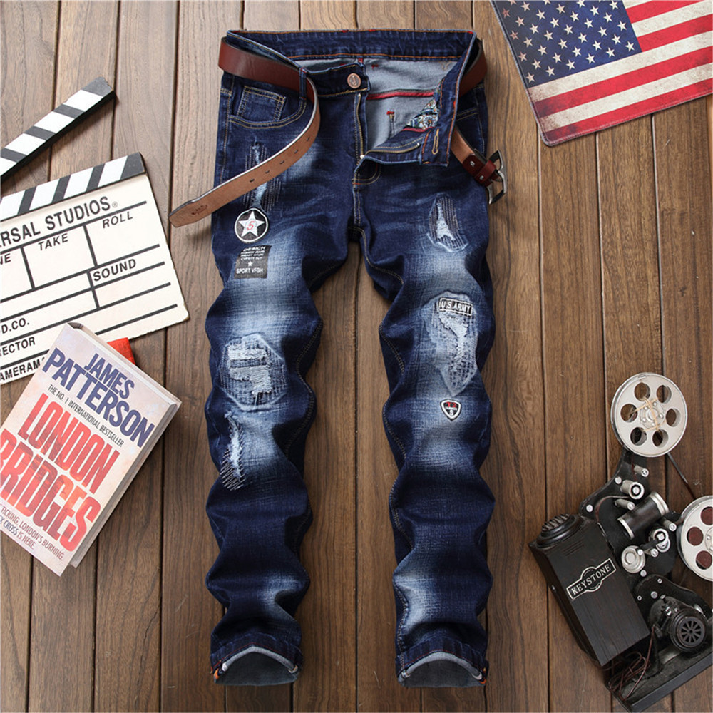2018 Summer new hot sale men ripped jeans fashion hip hop distressed male straight denim trousers patches plus size long pants
