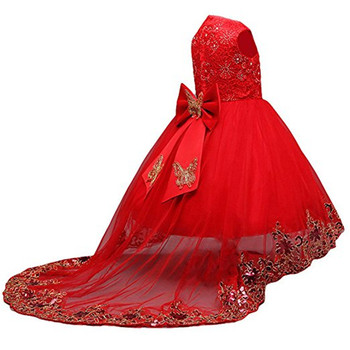 Kid Princess Flower Girl Dress Party Gown Butterfly Bow Wedding Flower Girl Dress Bridal Little Prin