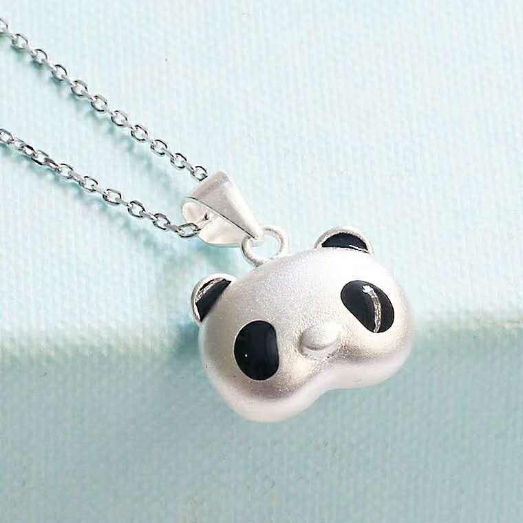 Sterling S925 925 pendentif en argent collier clous d'oreilles en argent panda définit le style chinois