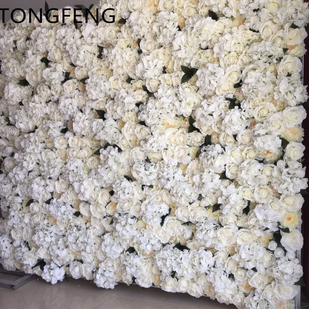 Artificial silk rose peony hydrangea 3D flower wall wedding background decoration Flower runner wedding IVORY 10pcs