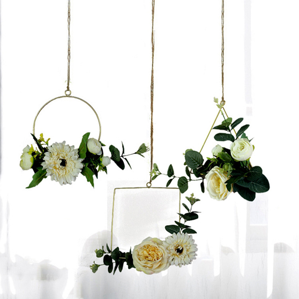 Flower Wreaths For Weddings: 3 Style Portable Iron Ring Garland Artificial Plant Flower
