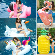 Giant Swan Watermelon Floats Pineapple Flamingo Swimming Ring Unicorn Inflatable Pool Float For Child&Adult Water Toys Party(China)