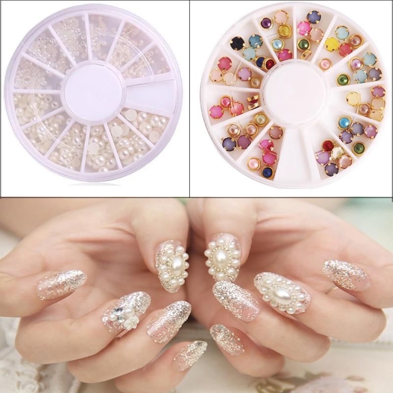 ツ 2box Fashion Pearl Rhinestone Crystal Stickers 3d Nail