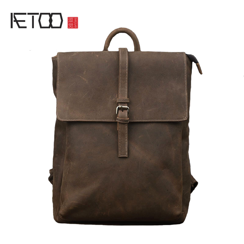 AETOO Crazy horse leather shoulder bag men fashion trend of the package men's leather backpack retro leisure cowhide computer aetoo the new retro mad horse skin backpack fashion shoulder shoulder leather package tide package