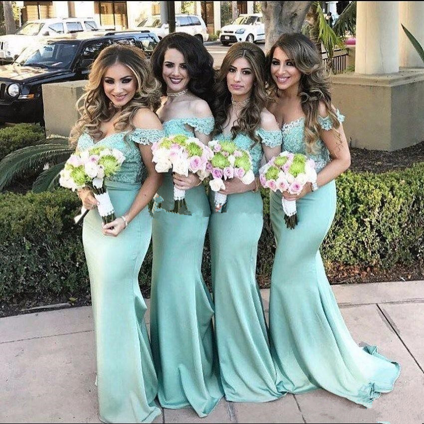 Sexy New Mermaid   Bridesmaid     Dresses   2019 Floor Length Appliques Satin Wedding Guest   Dress   Wedding Party   Dress
