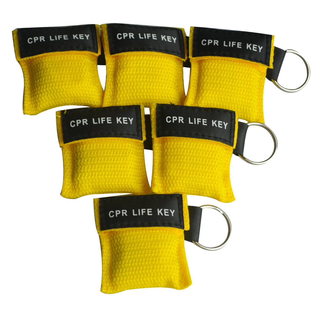 Wholesale 500Pcs/Lot CPR Resuscitator Mask CPR Life Key Emergency Face Shield Free Breathing Barrier With One-way Valve Yellow 500pcs lot optional color cpr breathing mask protect rescuers with one way valve artificial respiration reuseable mask