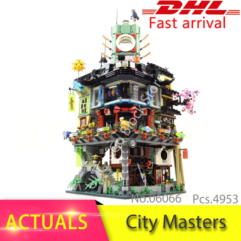 LEPIN 06066 4953pcs City Masters of Spinjitzu Building Blocks Bricks kid Toys For Children compatible legoing Ninjago series 0367 sluban 678pcs city series international airport model building blocks enlighten figure toys for children compatible legoe