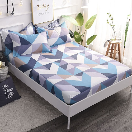(New On Product) 1pcs 100% Cotton Printing bed mattress set with four corners and elastic band sheets(pillowcases need order) 11
