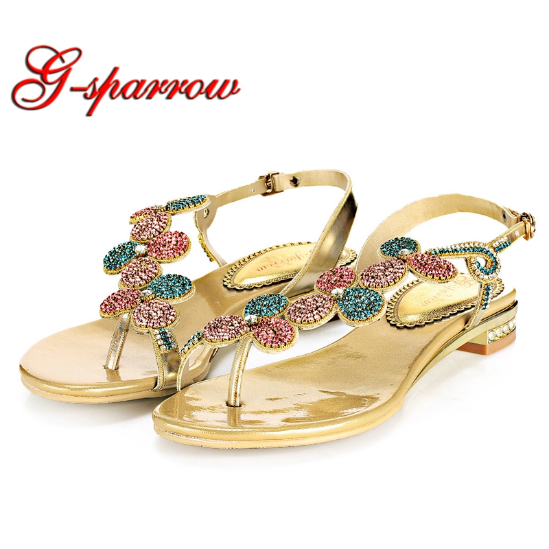 Flat Heel Flip-flop sandal Shoes for Women with Rhinestones Fashion Back Straps Flat Sandals Summer Dress Shoes Gold Color 34-44 stylish women s slippers with flip flop and rhinestones design
