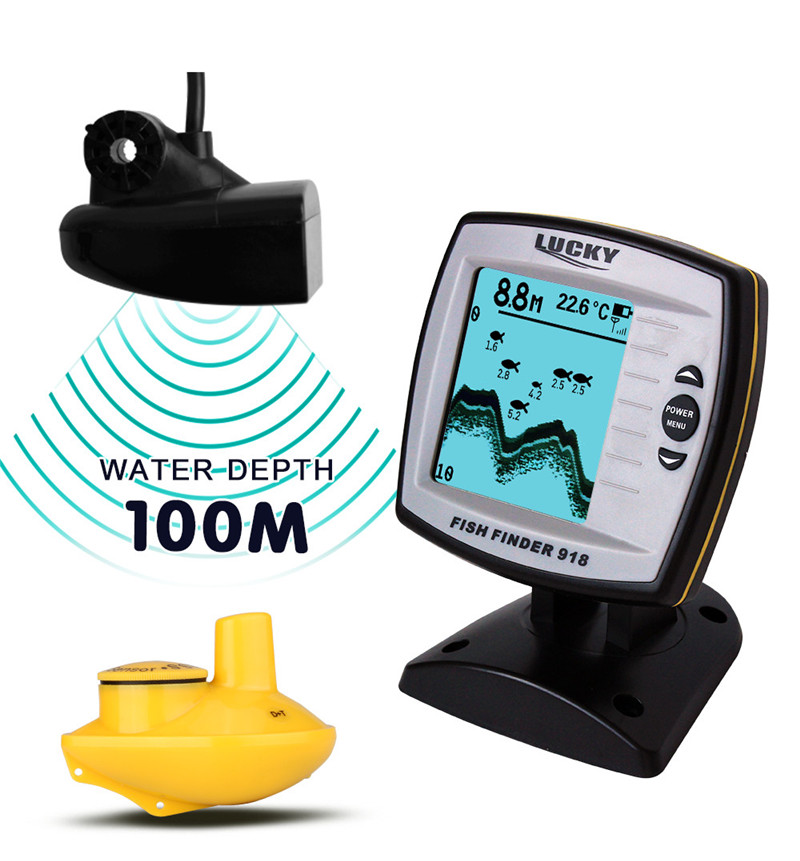 Lucky FF918-100WS Boat Fish Finder Cable & Wireless Double Modes 200ft Wireless Range 328ft Cable Length Floating Fishfinder эхолот lucky ff 916 wi fi