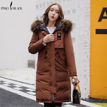 PinkyIsBlack Winter Jacket Women 2018 Fashion Two Sides Wear Thickening Warm Winter Down Cotton Parkas Long Slim Hooded Fur Coat недорого