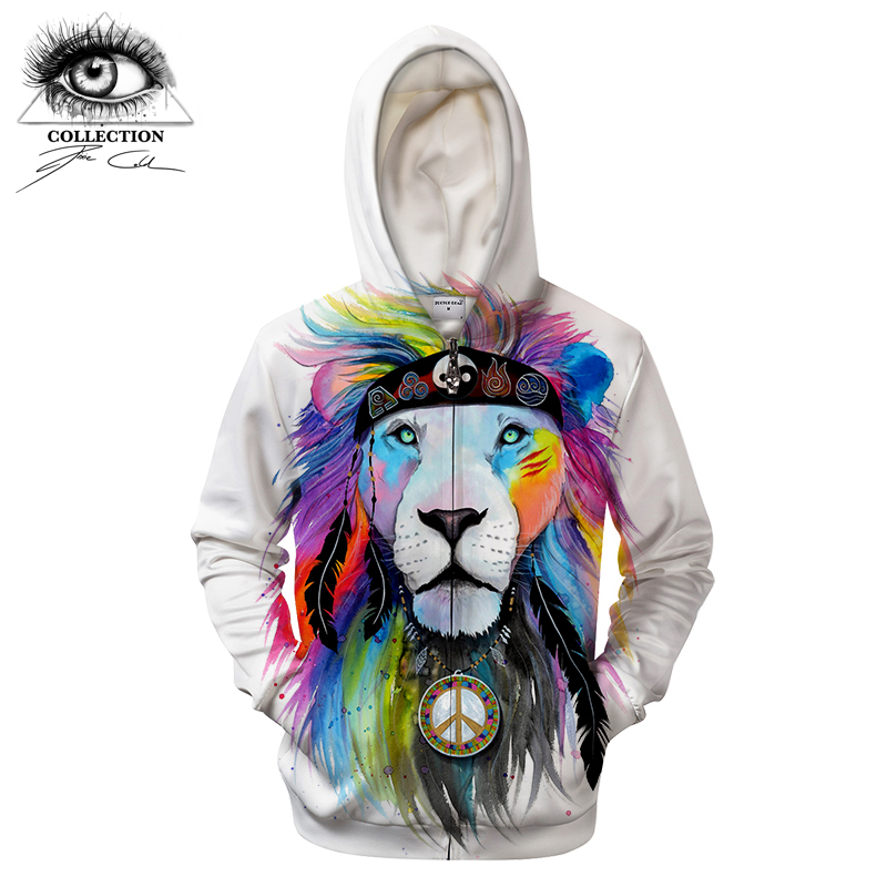 Hippy lion by Pixie cold Art 3D Printed Hoodies Sweatshirts Men Women Zipper Hooded Pullover Plus Size Autumn Tracksuits Drop Sh