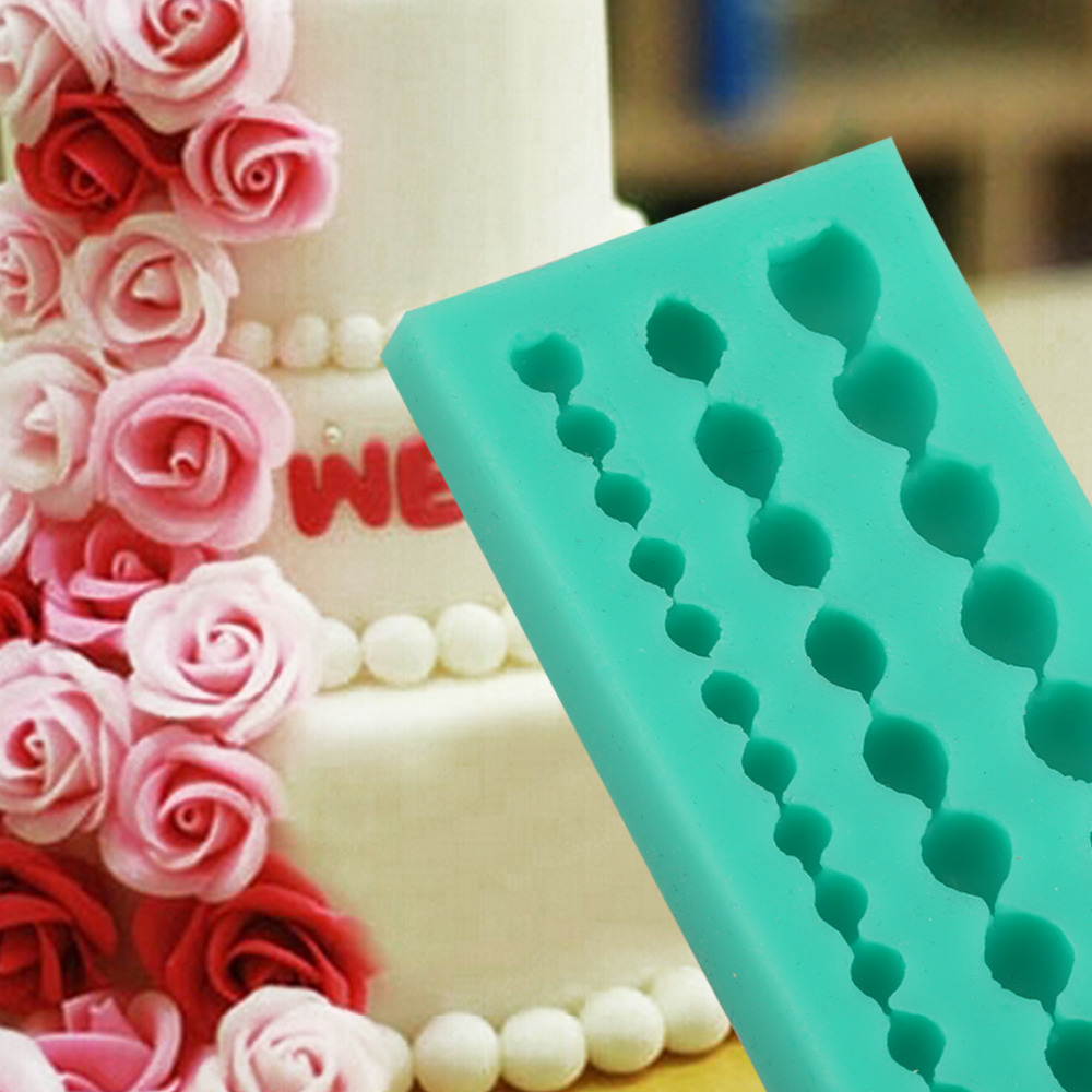 New DIY Cute Pearl String Beads Silicone Mold Cake Decorating Fondant Baking Mould Bead Mold Clay Mould Tools