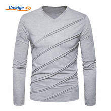 Covrlge 2018 Fashion Men T-shirt New Slim Fit Custom Crease Design Long Stylish V Neck Fitness Tee Shirt MTL086