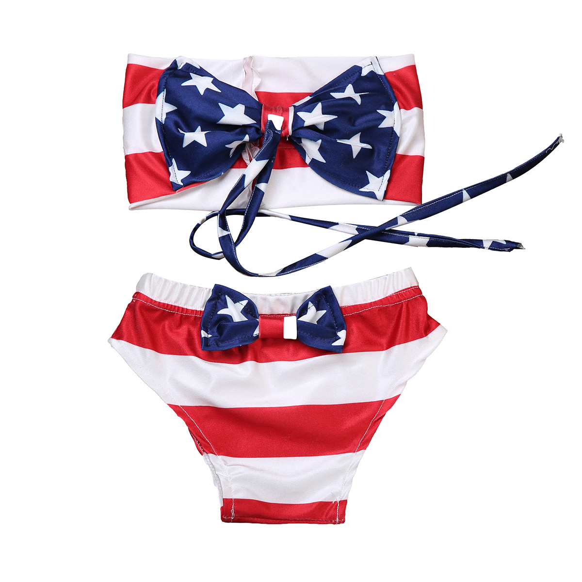2Pcs Infant Kids Baby Girl Swimsuit Swimwear Bathing Suit Tankini Bow Bikini Set ...