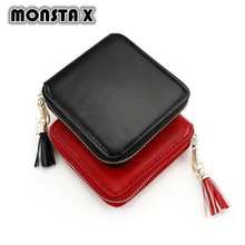 MONSTA X Fashion Women Lady PU Leather Clutch Wallet Mini Card Holder Purse Short Tassel Women Wallet Coin Purse Clutch Handbag