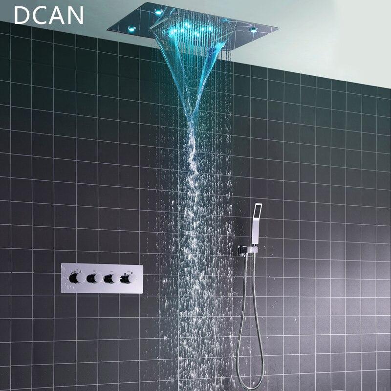 DCAN Montagem No Teto Quadrado Fixo Maneira Termostato Torneira Do Chuveiro Do Banheiro Chuvas Cabeça de Chuveiro com 3 Chrome Handheld Sistema de Chuveiro